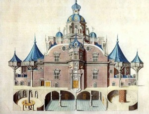 Uraniborg Castle, main building, from Atlas Maior, by Joan Blaeu, Amsterdam, 1663