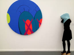 Kaws (AKA Brian Donelly), NTY, acrylic on canvas;  Daniel Firman, Linda, resin, clothes.