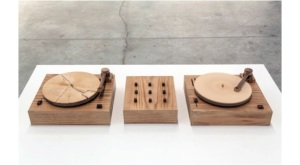 Jordan Bennett, Turning Tables, 2010, walnut, spruce, pine, oak, audio