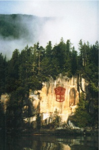 Marianne Nicolson, Cliff Painting, 1998, photographic wall mural