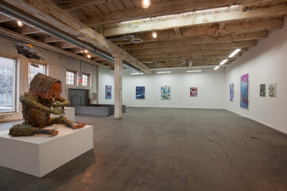 OK OK OK, installation view with Jude Griebel's Feeder and paintings by Nathaniel Hurtubise (photo: Eric Tschaeppeler, 2014)