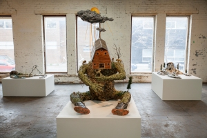 OK OK OK, installation view with Jude Griebel's Mire, Feeder, and Accident Mouth (photo: Eric Tschaeppeler)
